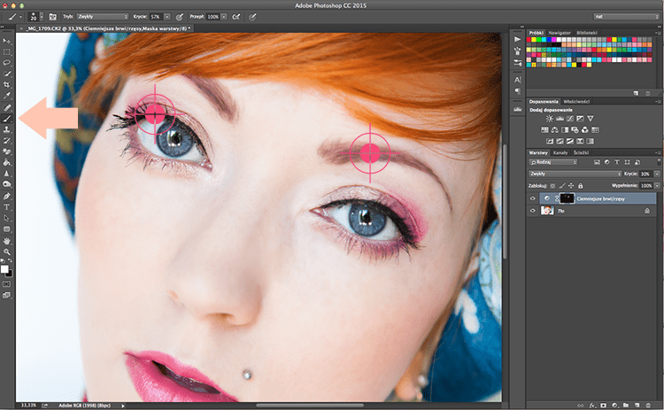 retusz twarzy w Photoshopie - pędzle